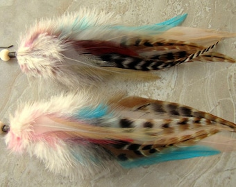 Big Colorful Feather Earrings - Brown Striped Feathers - Deity