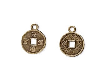 Coin Charm, Chinese Coin, Antiqued Brass Charm, 10mm, 20 each, D280