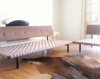 Vintage Mid Century Modern Walnut Sectional Sofa Danish Style Daybed, Custom Upholstery
