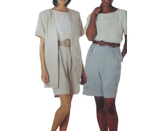 Women's High Waist Shorts, Pullover Top, Unlined Jacket Sewing Pattern Misses' Size 6-8-10-12 Uncut McCall's Stitch 'n Save 7638