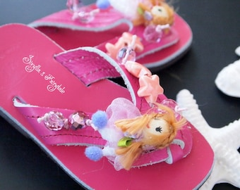"Children's Leather sandals Fuchsia with dolls/Flip Flops - ""Baby doll"""