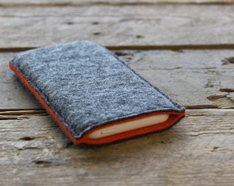 Samsung Galaxy Sleeve - Samsung Galaxy Cover - Samsung Galaxy Case in Mottled Dark Grey and Orange 100% Wool Felt