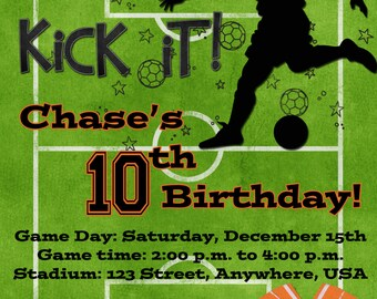 Soccer Birthday Party Invitation - Orange