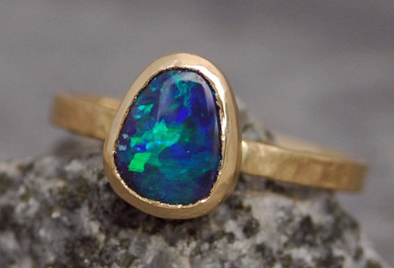 Black Opal in Recycled 14k or 18k Rose, White, or Yellow Gold Ring- Made to Order