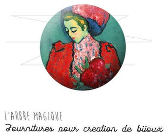 2 cabochons with stick woman Art painting red turquoise 927 ref - 16 mm-