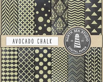 AVOCADO CHALK, Chalkboard Digital Papers, Chalkboard Backgrounds, Chalk Patterns, Polkadot, Quaterfoil, Hearts, Coupon Code BUY5FOR8