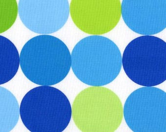 Michael Miller - Disco Dot in Blue & Green - Retro Mod Dot Abstract Fabric - Out Of Print OOP Remnant