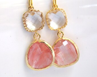 Peach Earrings, Coral Earrings, Glass, Clear, Champagne, Gold, Wedding Jewelry, Bridesmaid Gift, Bridesmaid Earrings, Bridal Jewelry