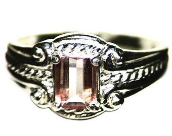 Watermelon Tourmaline Ring Size 7.5 Sterling Silver (0.65 ct) Emerald Cut Bicolor Pink Green Tourmaline Solitaire Ring, Watermelon Ring