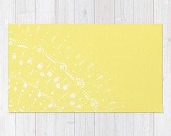 Yellow Area Rug, yellow nursery, mandala area rug, modern area rug, light yellow rug, yellow 2x3 rug, yellow 3x5 rug, yellow 4x6 rug