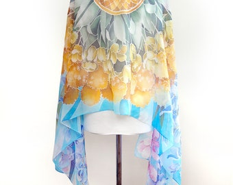 Big scarf FLOWERS - large scarf - unique wedding gift - bouquet scarf - hand painted silk scarf - Art Nouveau silk scarves - floral scarf