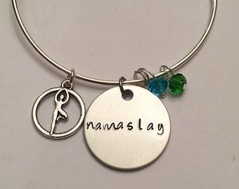 Namaslay Yoga Jewelry Yogi Jewelry Namaste Hand Stamped Yoga Adjustable Charm Bangle Bracelet