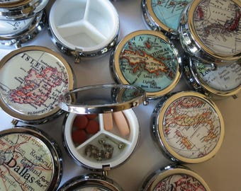 Bridal Shower Gift, Pill case, small case, medicine case, gift for grandma, trinket box, stash box, round jewelry box, bridal shower gift