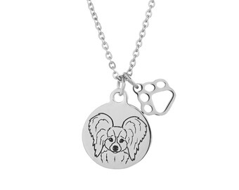 Papillon Dog Charm Necklace, Stainless Steel Papillon Necklace, Papillon Jewelry, Papillon Gift