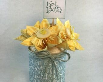 Yellow handmade paper flower arrangement, kusudama roses with a sentiment
