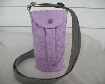 Water Bottle Holder Sling//Walkers Insulated Water Bottle Cross Body Bag// Hikers Water Bag- Lavender