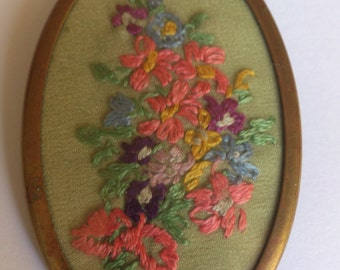 vintage embroidered flower brooch