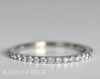 Delicate gold diamond ring. Palladium white gold ring. Natural diamond band. Delicate ring design. Engagement ring. 1,5mm wide ring.