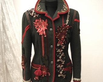Wool ornate Jacket, Upcycled jacket, Boho jacket, Wearable Art, Hand Embroidered, Art to wear, Upcycled Clothing, Gypsy jacket, Shabby Chic