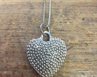 """Sterling Silver Vintage 3D Heart Pendant And ChaIn Necklace 18"""""""
