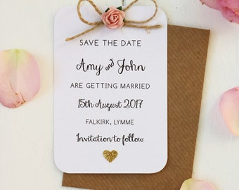 Rustic, Rose, Glitter Heart Save The Date Card with Twine Bow