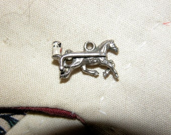 Harness Racing Horse Charm Sterling Race Horse Charm, Sterling Silver Horse, Vintage Horse Charm, Harness Horse Racing,  Figural Horse Charm