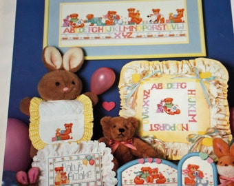 Vintage, 1980s, Cross Stitch, Leaflet, Welcome Baby, Book Six, Cross Stitch Designs, Baby, Bears, OLD2NESWMEMORIE