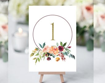Floral Table Numbers, Table Numbers for Wedding, Table Number Cards, Table Numbers Printable, Rustic Table Numbers,  Wedding Table Markers
