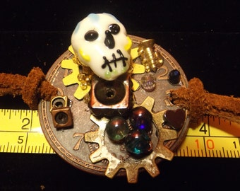 Day Of The Dead Meets Steampunk handcrafted leather bracelet