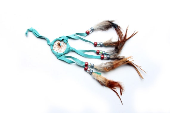 Sm Mint Handmade Navajo Dream Catcher with feathers and rabbit fur. Medicine stones and arrowhead