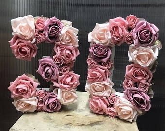 Flower filled numbers and letters- birthdays, weddings, special occasions, artificial flowers