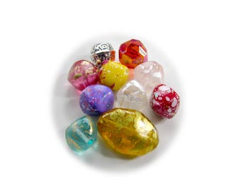 Vintage Assorted Colorful Acrylic Bead Mix