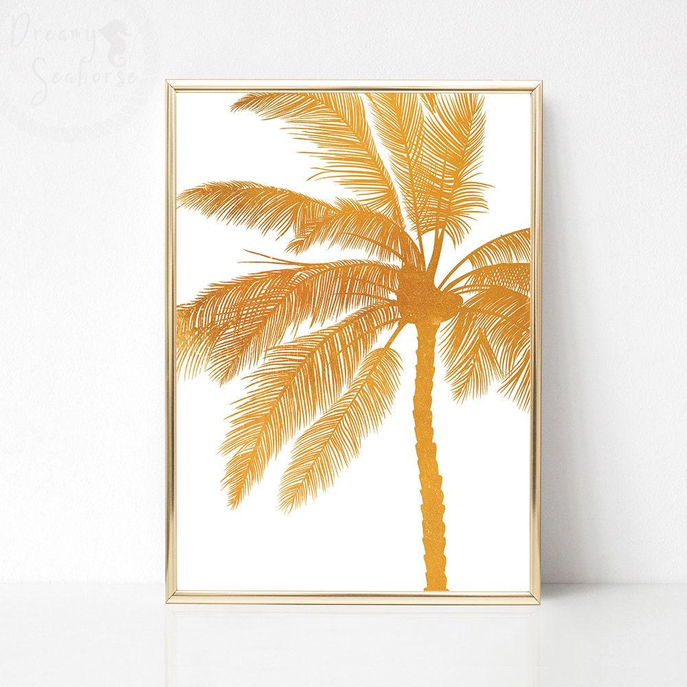 Golden Palm Print Gold White Wall Art Printable Palm