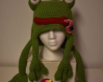 Frog Beanie Hat crochet for child, teen and adult