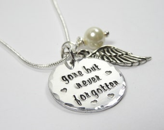 Gone but never forgotten necklace - angel wing necklace - memorial gift - memorial necklace - tribute necklace