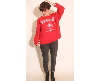 Vintage 1990s Bonjour International Red Oversized Cotton One Size Fits All Sweatshirt