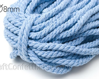 Blue twisted rope 8mm Nautical cotton cord  Blue cotton rope Cotton twisted rope Decoration rope Nautical decor / 5 meters