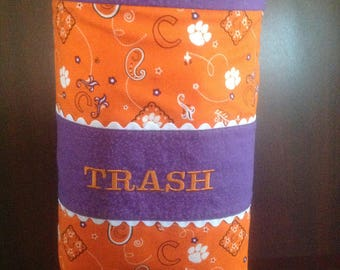 Clemson fabric car trash bag