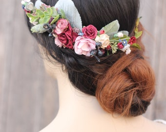 Floral Hair Comb Wedding Floral Hair Piece Navy Burgundy Bridal Flower Comb Bridal Comb Blueberry Preserved Baby Breath Boxwood Eucalyptus