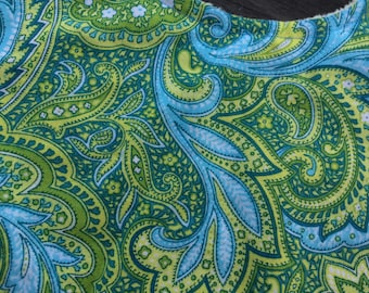 Blue and Green Paisley Baby Bib