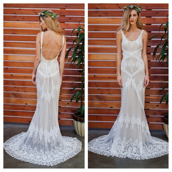 Cecilia lace bohemian wedding dress cotton lace with open junglespirit Gallery