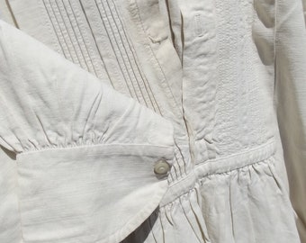 Antique French Dress Shirt Hand stitched Chemise Chanvre Linen Gentleman's !9th Century tunic