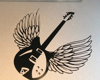 Guitar Wings, Decal Laptop Wings, Car Decal, Laptop Decal, Window Decal, Computer Decal, Guitar Sticker, Guitar Decal, Music, Musician,