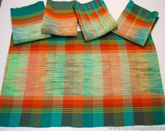 Handwoven Towels - Hand Dyed Warp Towels