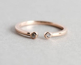 14k Rose Gold Plated Bezel Cuff Ring, Open Ring, Dainty Ring, Adjustable Ring, Stackable Ring, Rose Gold Ring, Gift For Her, Minimalist Ring