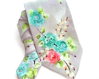 Hand Painted Silk Tie. Floral Tie. Roses Man Tie. Handmade Tie. Silk Painting Wearable Art. Grooms Wedding Tie. Gift for Him. MADE to ORDER