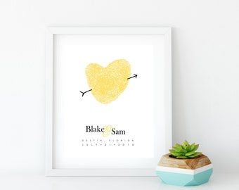 Wedding Guest Fingerprint Sign In Heart Poster Custom Wedding Canvas Decor Idea with Thumbprints - Unique Guestbook Alternative