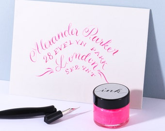 Neon Pink Calligraphy Ink / Modern Calligraphy Ink/ Dip Pen Ink/ Copperplate Ink/ Pointed Pen Ink/ Neon Ink/ Modern Calligraphy Supplies