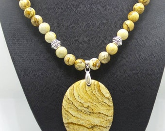 Handmade Picture Jasper beaded necklace with Picture Jasper pendant.