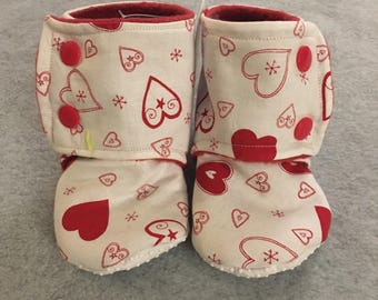 Valentines Hearts Stay On Baby Booties